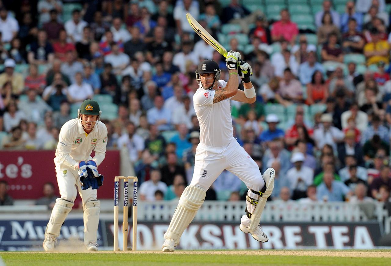 England's Kevin Pietersen bats during day five of the Fifth Investec Ashes Test match at The Kia Oval, London.