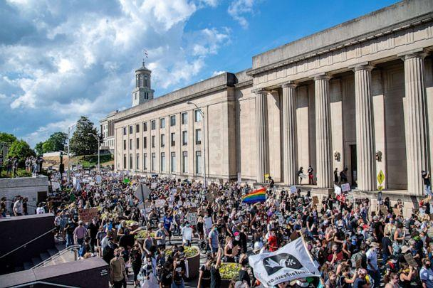 PHOTO: Protestors gather in front of the Tennessee State Capitol in Nashville, June 4, 2020. (Amy Harris/REX via Shutterstock)