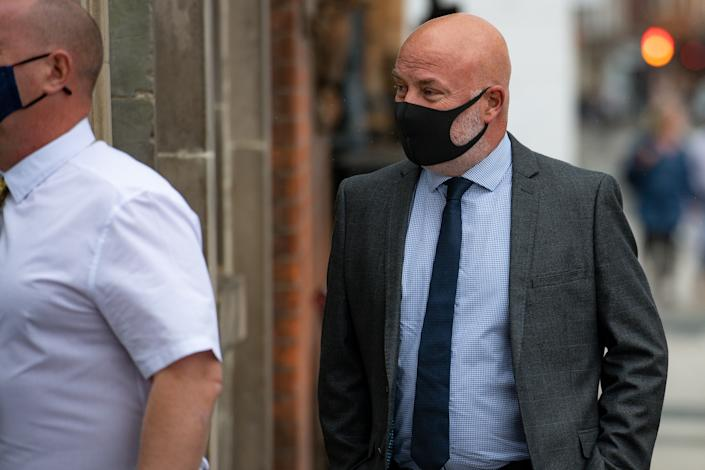 West Mercia Police Constable Michael Darbyshire, 52, arrives at Worcester Crown Court today. Darbyshire is charged with rape and five counts of sexual assault. (Photo by Jacob King/PA Images via Getty Images)