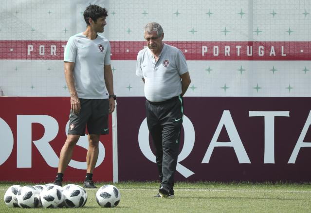 Soccer Football - World Cup - Portugal Training - Kratovo, Moscow Region, Russia - June 24, 2018. Coach Fernando Santos attends a training session. REUTERS/Albert Gea