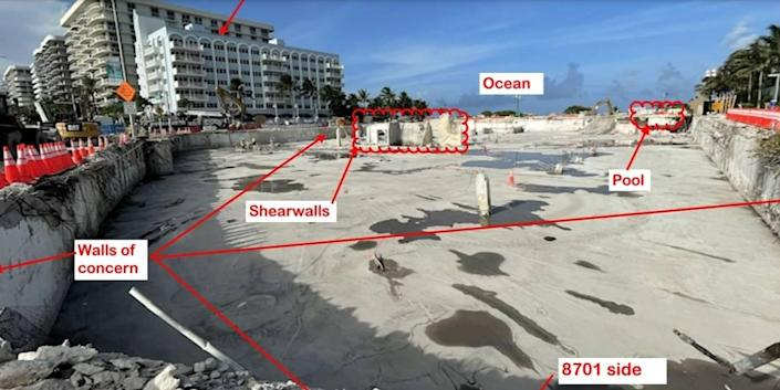 A photo of the Champlain Towers South site, cleared of debris, submitted by Surfside engineering consultant Allyn Kilsheimer in a letter to Miami-Dade County warning the nearby Collins Avenue could fail if the hollowed-out subterranean walls collapsed. Miami-Dade said it is rushing to shore up the walls. Collins remains closed to pedestrian and automobile traffic.