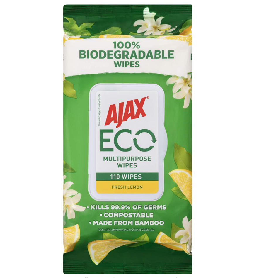 Ajax Eco Antibacterial Disinfectant Surface Cleaning Wipes, Bulk 110 Pack