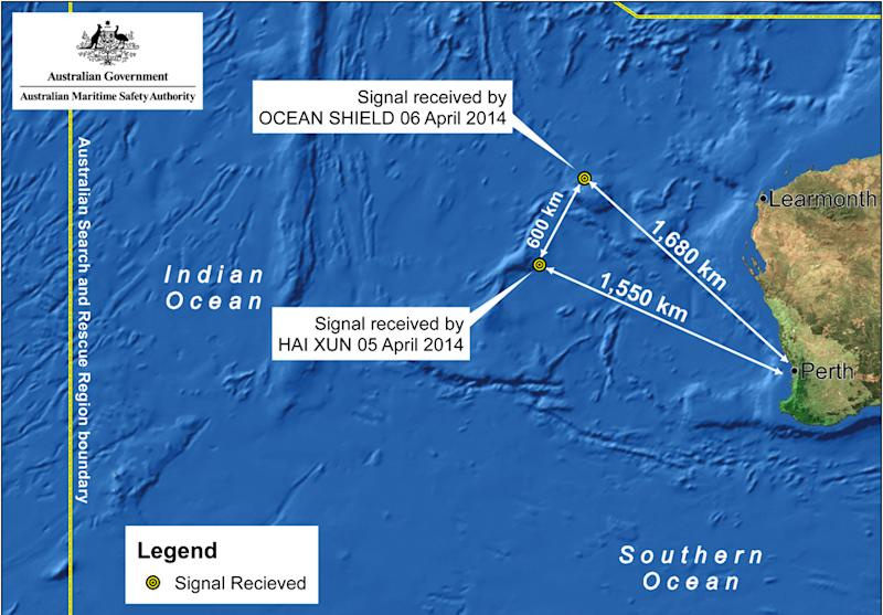 This image provided by the Joint Agency Coordination Centre on Monday, April 7, 2014, shows a map indicating the locations of search vessels looking for signs of the missing Malaysia Airlines Flight 370 in the southern Indian Ocean. An Australian official overseeing the search for the missing Malaysia Airlines plane said underwater sounds picked up by equipment on an Australian navy ship are consistent with transmissions from black box recorders on a plane. (AP Photo/Joint Agency Coordination Centre) EDITORIAL USE ONLY