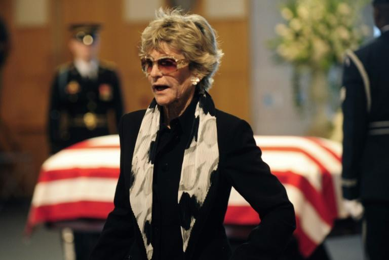 (FILES) In this file photo taken on August 28, 2009, Jean Kennedy Smith leaves her brother's coffin as people pay their last respects to US Senator Edward Kennedy at the John F. Kennedy Presidential Library and Museum (AFP Photo/EMMANUEL DUNAND)