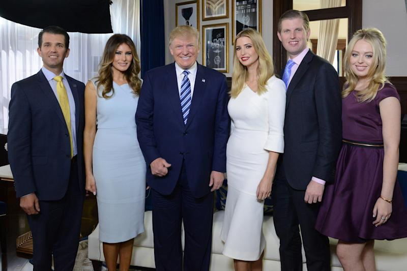 State visit: (L-R) Donald Trump JR, Melania Trump, Donald Trump, Ivanka Trump, Eric Trump and Tiffany Trump (ABC via Getty Images)