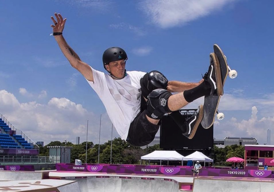 Skateboard legend Tony Hawk won't be competing when the sport he put on the map makes it Olympic debut in Tokyo, but he's certainly soaking in the experience. (Instagram/TonyHawk)