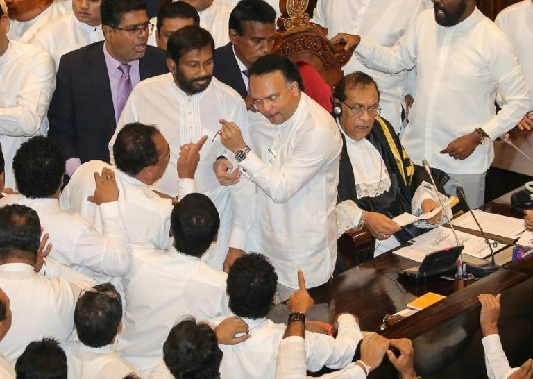 Parliamentary proceedings in Sri Lanka turned ugly as MPs got physical with each other in the chamber