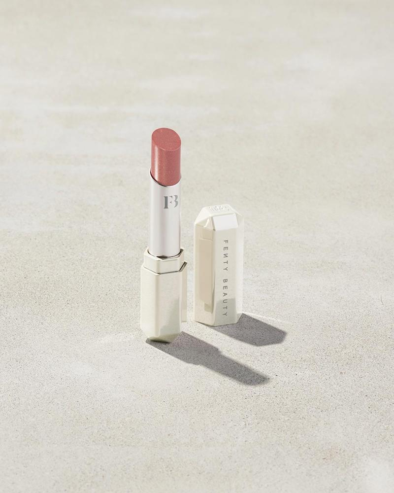 Slip Shine Sheer Shiny Lipstick in Glazed. Image via Fenty Beauty.