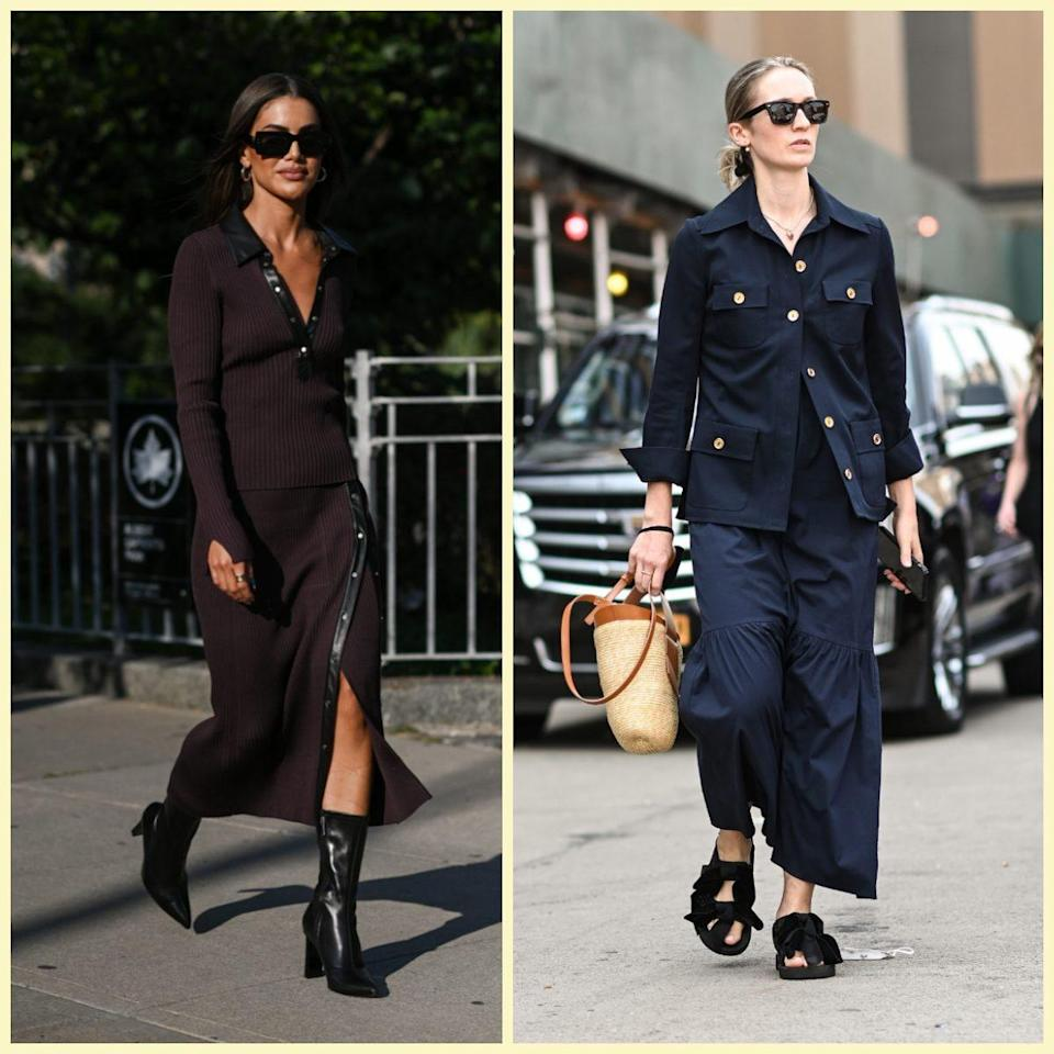 Camila Coelho wears a brown Jonathan Simkhai outfit; a guest is seen wearing a blue Khaite top and pants with black shoes - Daniel Zuchnik / Getty Images North America
