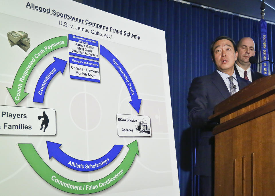 Acting U.S. Attorney for the Southern District of New York Joon H. Kim lays out the case against four assistant basketball coaches from Arizona, Auburn, USC and Oklahoma State. (AP)