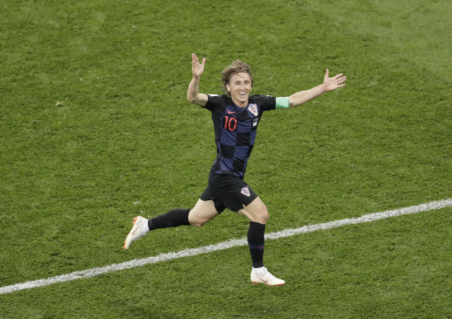 Croatia's Luka Modric celebrates after scoring his side's second goal during the group D match between Argentina and Croatia at the 2018 soccer World Cup in the Nizhny Novgorod stadium in Nizhny Novgorod, Russia, Thursday, June 21, 2018. (AP Photo/Michael Sohn)