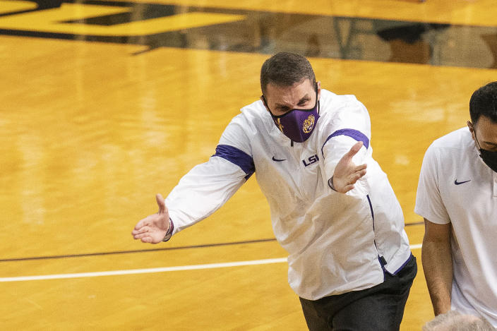 LSU head coach Will Wade argues a call during the first half of an NCAA college basketball game against Missouri Saturday, March 6, 2021, in Columbia, Mo. (AP Photo/L.G. Patterson)