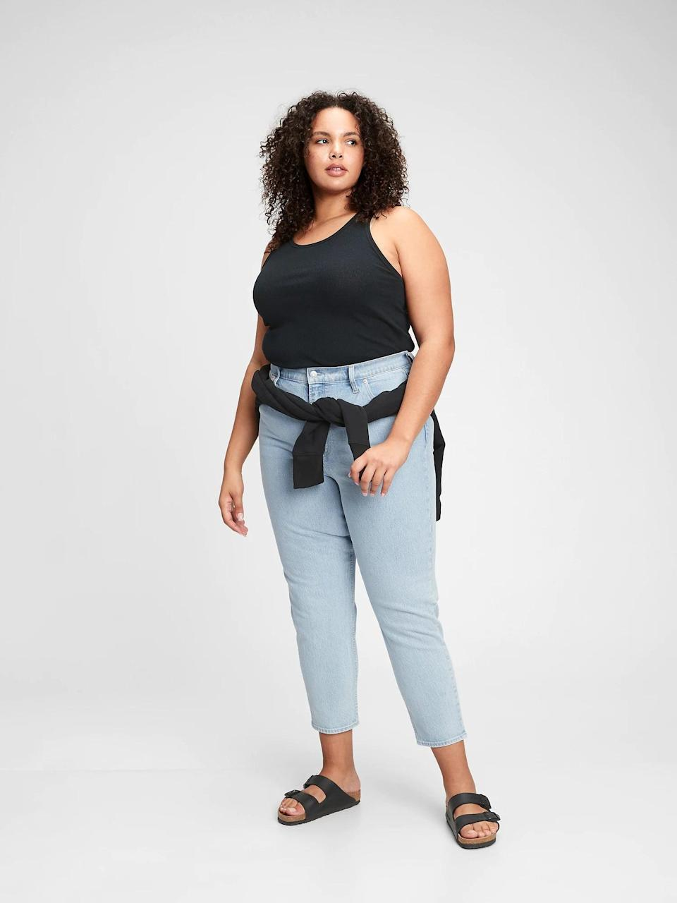 <p>Our editors love these <span>Gap Sky High Rise Mom Jeans With Washwell</span> ($48, originally $70).</p>