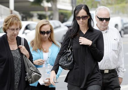 Family of San Francisco Giants fan Bryan Stow arrive for the start of a civil trial in a lawsuit brought by Stow against former Los Angeles Dodgers owner Frank McCourt in Los Angeles