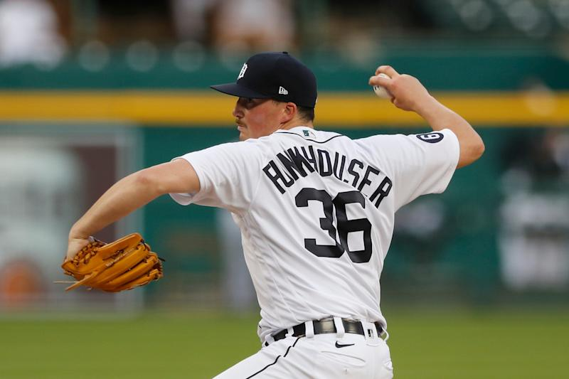 Tigers pitcher Kyle Funkhouser throws during during the Tigers' 14-6 loss to the Royals at Comerica Park on Monday, July 27, 2020.
