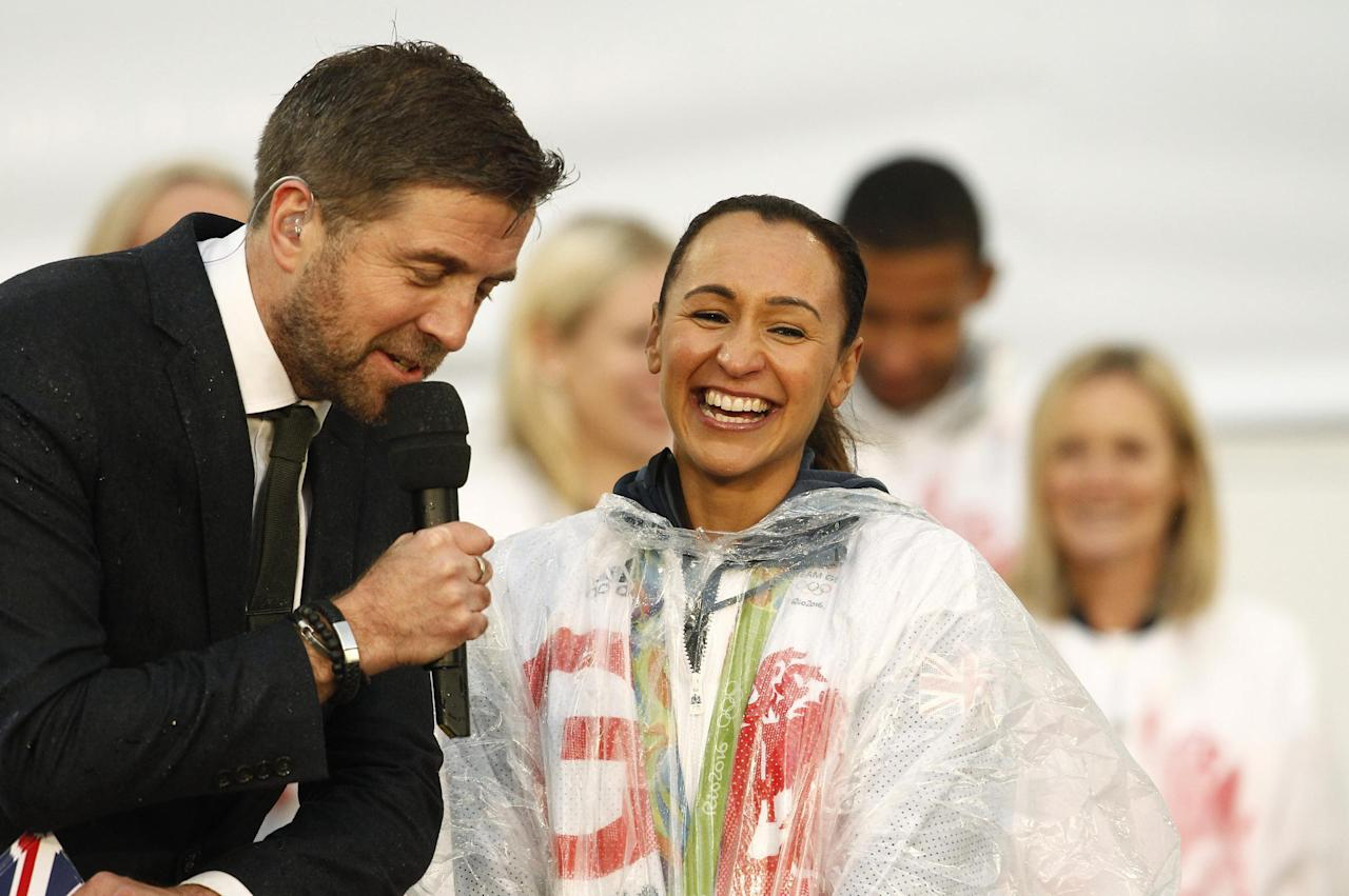 Britain Olympics - Team GB Homecoming Parade - Manchester - 17/10/16 Jessica Ennis-Hill of Britain of Britain on stage Action Images via Reuters / Craig Brough Livepic EDITORIAL USE ONLY.