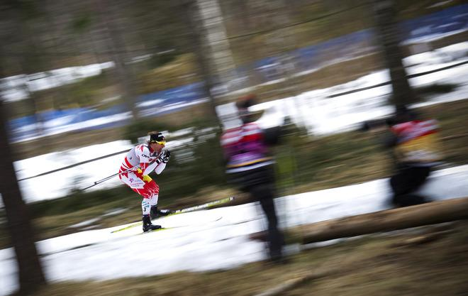 Canada's Devon Kershaw competes during the season-ending FIS Cross-Country World Cup Men 15 km pursuit on March 18, 2012 in Falun.    (Photo by Jonathan Nackstrand/AFP/Getty Images)