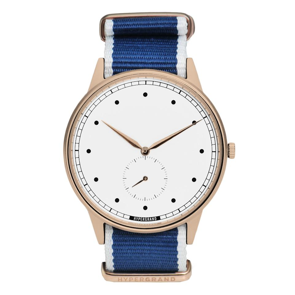 "<p>Up-and-coming watch brand Hypergrand makes some of the coolest (and super-affordable) watches we've ever seen.</p> <p>$179 | <a rel=""nofollow"" href='http://www.hypergrand.com/watches/signature/rose-gold-white/Straight-Jacquard-Blue'>hypergrand.com</a></p>"