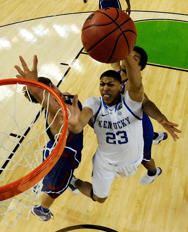 Anthony Davis #23 of the Kentucky Wildcats goes up for a shot against Jeff Withey #5 of the Kansas Jayhawks in the National Championship Game of the 2012 NCAA Division I Men's Basketball Tournament at the Mercedes-Benz Superdome on April 2, 2012 in New Orleans, Louisiana. (Photo by Chris Steppig/Pool/Getty Images)