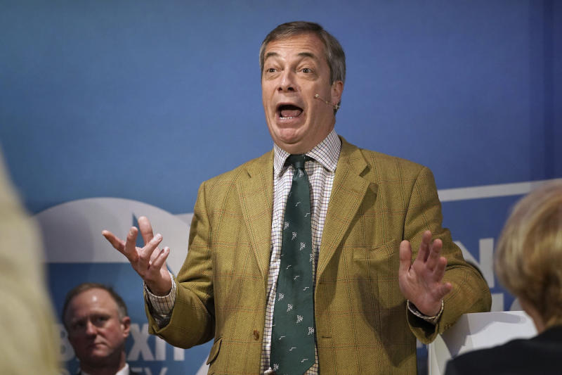 Brexit Party leader Nigel Farage speaks at One Stop Golf in Hull, East Yorkshire, whist on the General Election campaign trail in England, Thursday, Nov. 28, 2019. (Owen Humphreys/PA via AP)