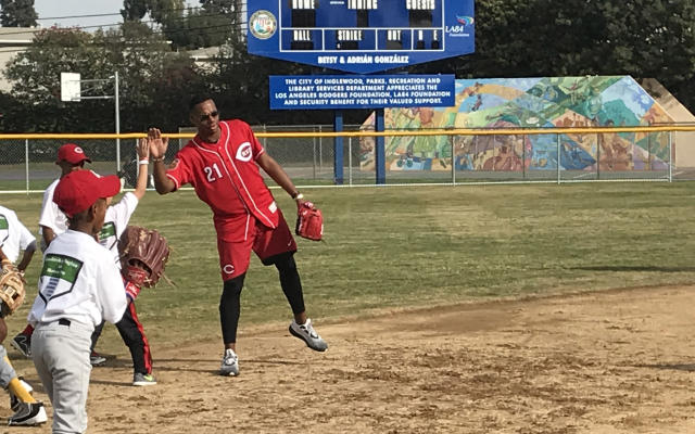 Cincinnati Reds prospect Hunter Greene hosted a free baseball camps for kids on Sunday in Inglewood, California. (Tim Brown/Yahoo Sports)