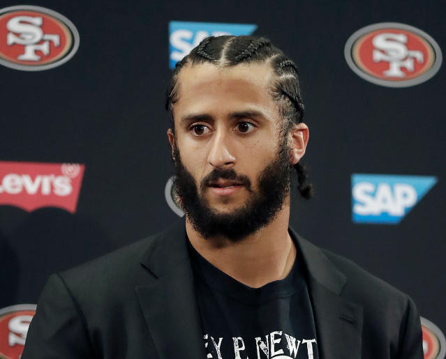 FILE - This Jan. 1, 2017, file photo shows then San Francisco 49ers quarterback Colin Kaepernick speaking at a news conference after the team's NFL football game against the Seattle Seahawks in Santa Clara, Calif. Pete Carroll said the Seattle Seahawks have not closed the door on the possibility of adding Kaepernick to their roster, but how much further they pursue it may depend on the upcoming NFL draft. Reports surfaced earlier this month that Seattle pulled out of a planned workout for Kaepernick. Seattle has been one of the few teams to show interest in Kaepernick following his protests during the national anthem. (AP Photo/Marcio Jose Sanchez, File)