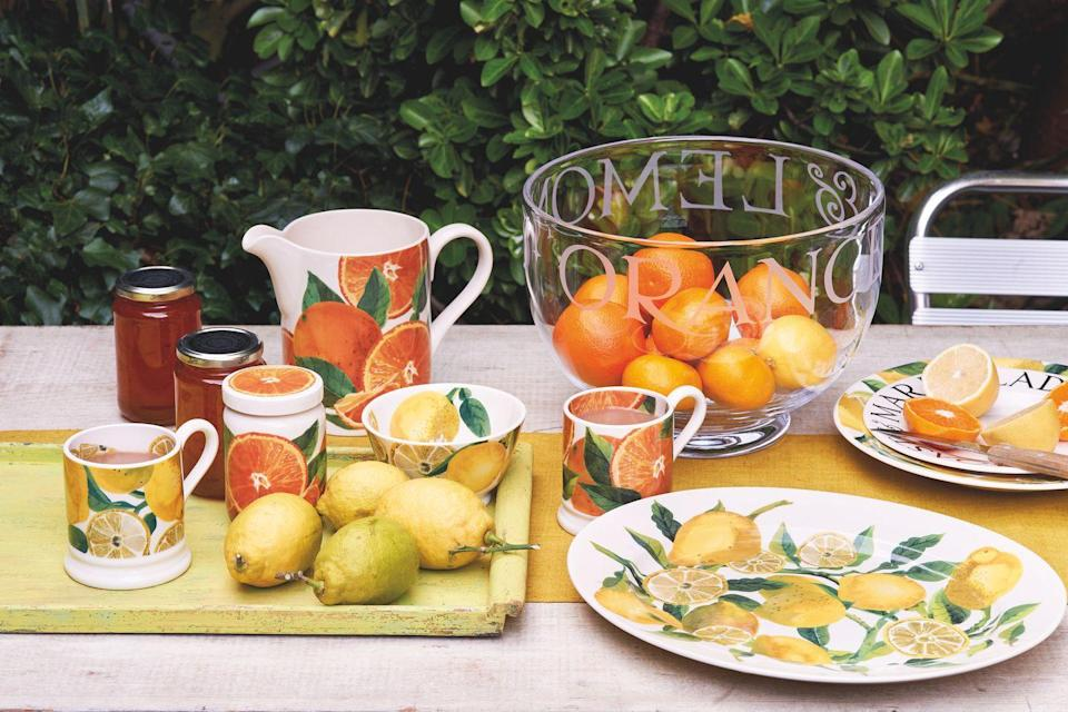"<p>Get set for summer with the new range of fruity must-haves. The newest print to join the Vegetable Garden collection, you'll find mugs, bowls, serving jars and plates all in a refreshing citrus print. Lemonade, anyone? </p><p><a class=""link rapid-noclick-resp"" href=""https://go.redirectingat.com?id=127X1599956&url=https%3A%2F%2Fwww.emmabridgewater.co.uk%2Fcollections%2Fnew&sref=https%3A%2F%2Fwww.housebeautiful.com%2Fuk%2Flifestyle%2Fshopping%2Fg35264783%2Femma-bridgewater-spring%2F"" rel=""nofollow noopener"" target=""_blank"" data-ylk=""slk:BUY NOW"">BUY NOW</a></p>"