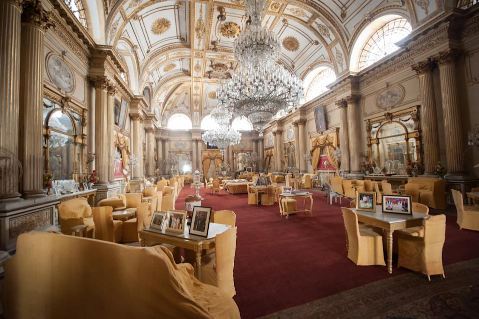 The Durbar Hall inside the Jai Vilas Palace. The Jai Vilas Mahal was established in 1874 by Jayajirao Scindia, the Maharaja of Gwalior. (Photo by Atid Kiattisaksiri/LightRocket via Getty Images)