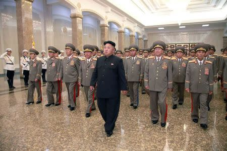North Korean leader Kim Jong Un visits the Kumsusan Palace of the Sun at midnight on Tuesday on the occasion of the 20th anniversary of the demise of President Kim Il Sung