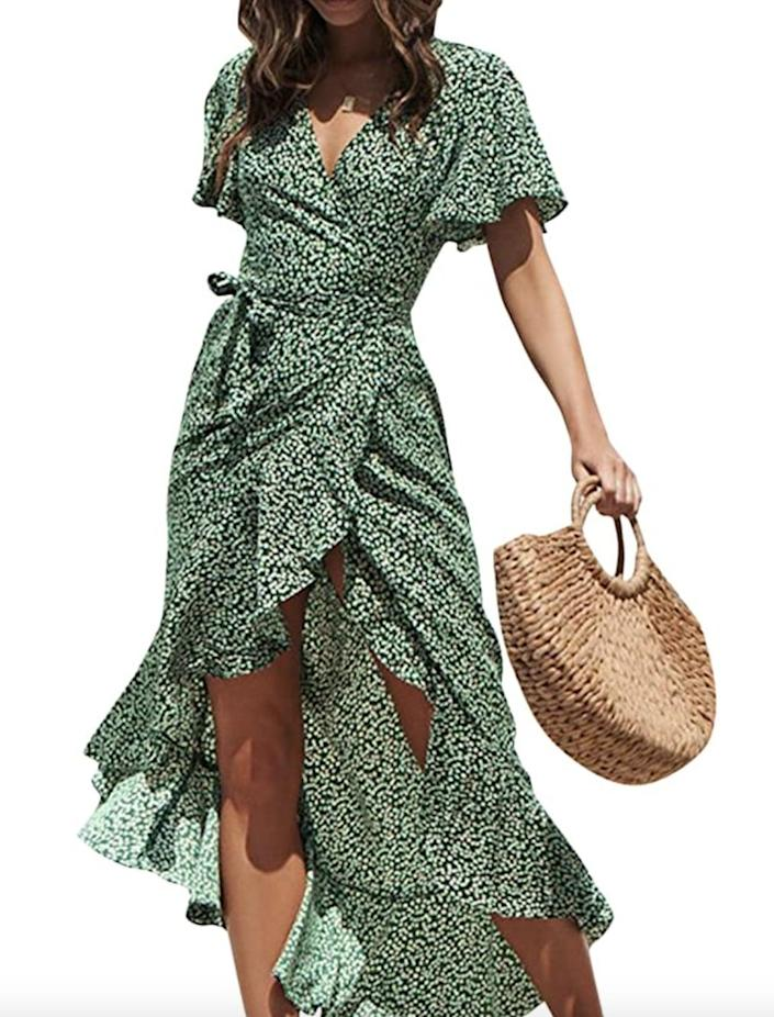 <p>This flattering <span>Simplee Wrap Dress</span> ($27) comes in several colors. Style it with heels or sneakers.</p>