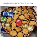 """<p>Heart-shaped boxes of chocolate are so last year — we'll take some nuggs (and extra sauce!) instead. </p><p><a href=""""https://www.instagram.com/p/B8jObfvg3tt/?utm_source=ig_embed"""" rel=""""nofollow noopener"""" target=""""_blank"""" data-ylk=""""slk:See the original post on Instagram"""" class=""""link rapid-noclick-resp"""">See the original post on Instagram</a></p>"""