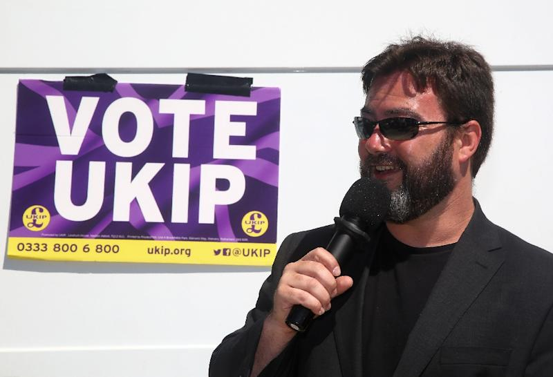 """UKIP candidate Carl Benjamin tweeted in 2016 that he """"wouldn't even rape"""" opposition Labour MP Jess Philips (AFP Photo/GEOFF CADDICK)"""