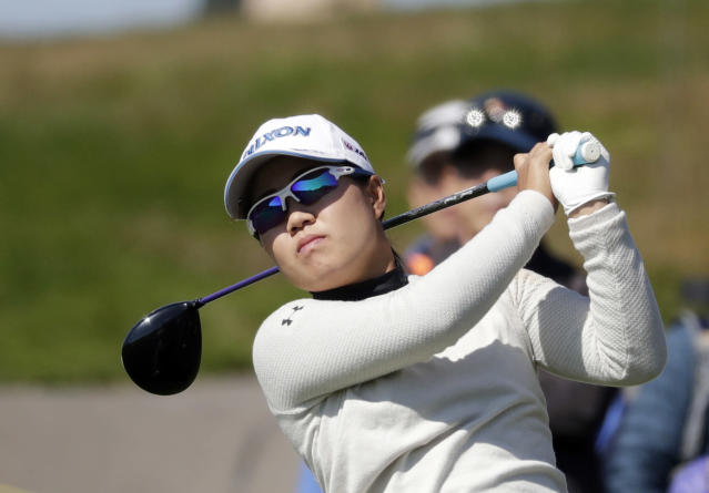 Nasa Hataoka of Japan watches her shot on the 7th hole during the second round of the LPGA KEB Hana Bank Championship at Sky72 Golf Club in Incheon, South Korea, Friday, Oct. 12, 2018. (AP Photo/Lee Jin-man)