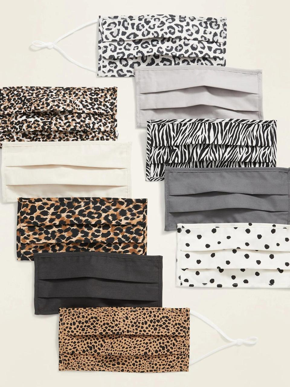 <p>Stock up for the whole season with the massive <span>Old Navy Variety 10-Pack of Triple-Layer Cloth Pleated Face Masks</span> ($25). It's a stunning neutral, animal print so it can not only go with most outfits but also dress them up. It is soft and breathable made from three-ply, woven 100 percent cotton poplin. It even has adjustable over-the-ear straps for a secure and snug fit.</p>