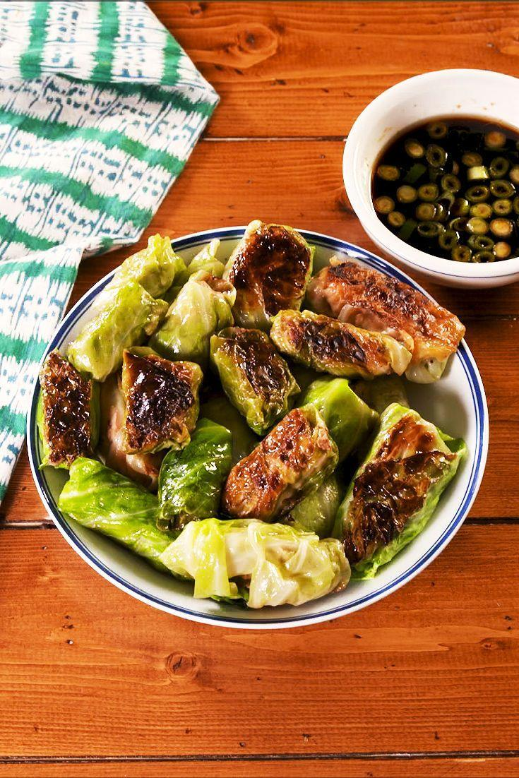 """<p>Cabbage makes the perfect low-carb sub to traditional wonton wrappers in our classic potstickers. </p><p>Get the recipe from <a href=""""https://www.delish.com/cooking/nutrition/a30471127/low-carb-cabbage-dumplings-recipe/"""" rel=""""nofollow noopener"""" target=""""_blank"""" data-ylk=""""slk:Delish"""" class=""""link rapid-noclick-resp"""">Delish</a>.</p>"""