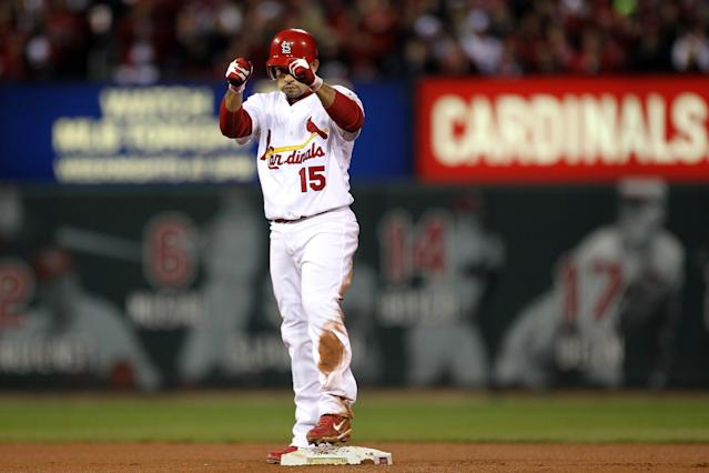 ST LOUIS, MO - OCTOBER 20: Rafael Furcal #15 of the St. Louis Cardinals reacts after hitting a double in the third inning for the first hit of the game during Game Two of the MLB World Series against the Texas Rangers at Busch Stadium on October 20, 2011 in St Louis, Missouri. (Photo by Ezra Shaw/Getty Images)