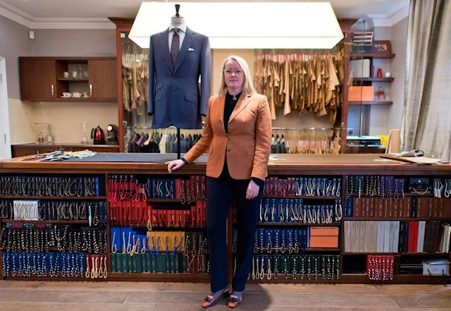 <p>Master tailor Kathryn Sargent poses for a portrait in her shop in central London on February 23, 2018. (Photo: Justin Tallis/AFP/Getty Images) </p>