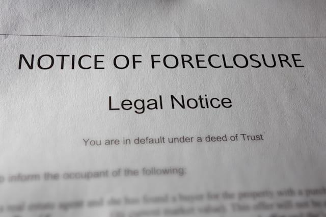 a home foreclosure document on...
