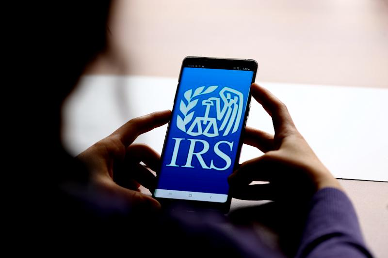KONYA, TURKEY - FEBRUARY 27: In this photo illustration a mobile phone screen displays Internal Revenue Service (IRS) logo in Konya, Turkey on February 27, 2020. Abdullah Coskun / Anadolu Agency