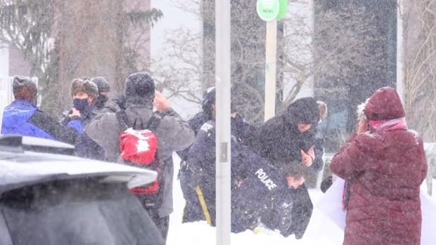 Five people face charges following the protest. Three are now represented by Ontario-based lawyer Joshua Halpren.