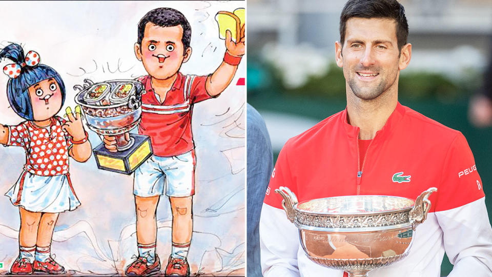 Novak Djokovic, pictured here in an ad for Amul Dairy despite being vegan.