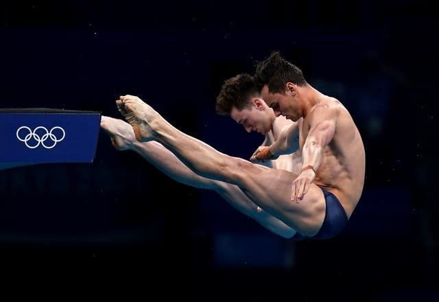 Tom Daley and Matty Lee in perfect synch on their way to gold in the 10 metre platform diving