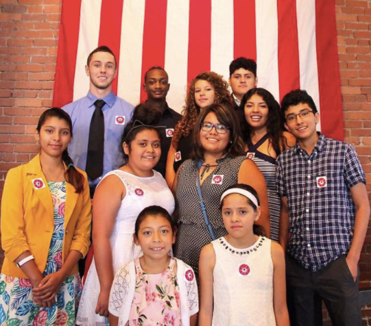 Casa San Jose community members celebrate a naturalization ceremony at the Heinz History Center this year.