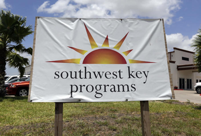 This June 20, 2014, file photo shows a Southwest Key Programs sign in Brownsville, Texas. The U.S. Department of Health and Human Services has awarded a $79 million contract to the nonprofit organization to provide child care and case management services at one of the new child migrant facilities in Midland, Texas. (AP Photo/Eric Gay, File)