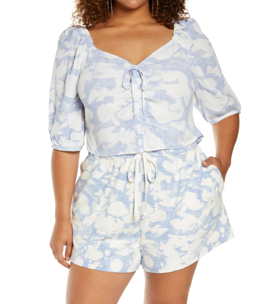 Tie Front Puff Sleeve Blouse in Blue Fusion Marble (Photo via Nordstrom)