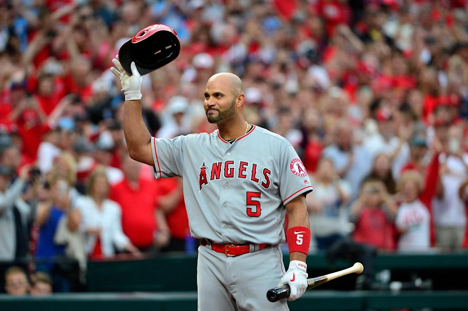 Angels DH Albert Pujols receives a standing ovation before his first at-bat in St. Louis as a visiting player on June 21, 2019.