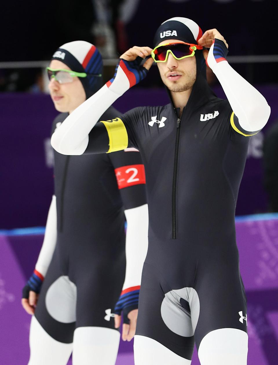 GANGNEUNG, SOUTH KOREA – FEBRUARY 18: Emery Lehman and Jonathan Garcia of the United States warm up prior to the Men's Team Pursuit Speed Skating Quarter Finals on day nine of the PyeongChang 2018 Winter Olympic Games. (Getty Images)