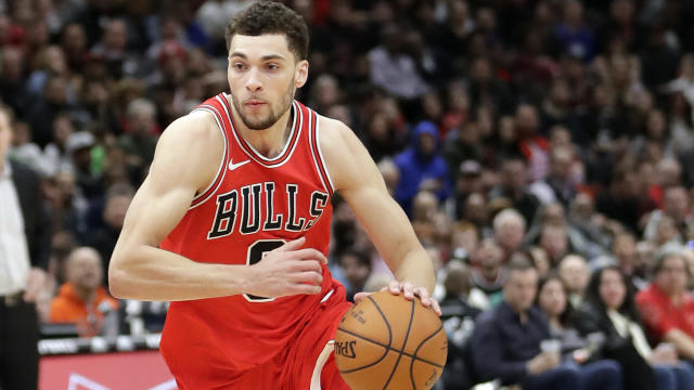 "<a class=""link rapid-noclick-resp"" href=""/nba/players/5324/"" data-ylk=""slk:Zach LaVine"">Zach LaVine</a> averaged 16.7 points and 3.9 rebounds in 24 games for Chicago last season. (AP)"