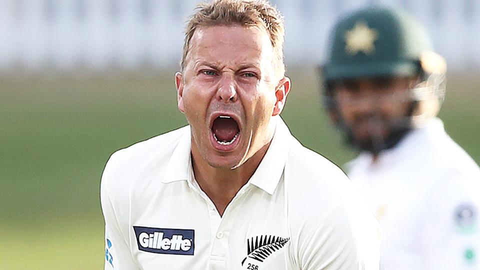 Neil Wagner's gutsy second innings spell, battling two fractured toes, guided New Zealand to a thrilling Test victory over Pakistan. (Photo by Phil Walter/Getty Images)