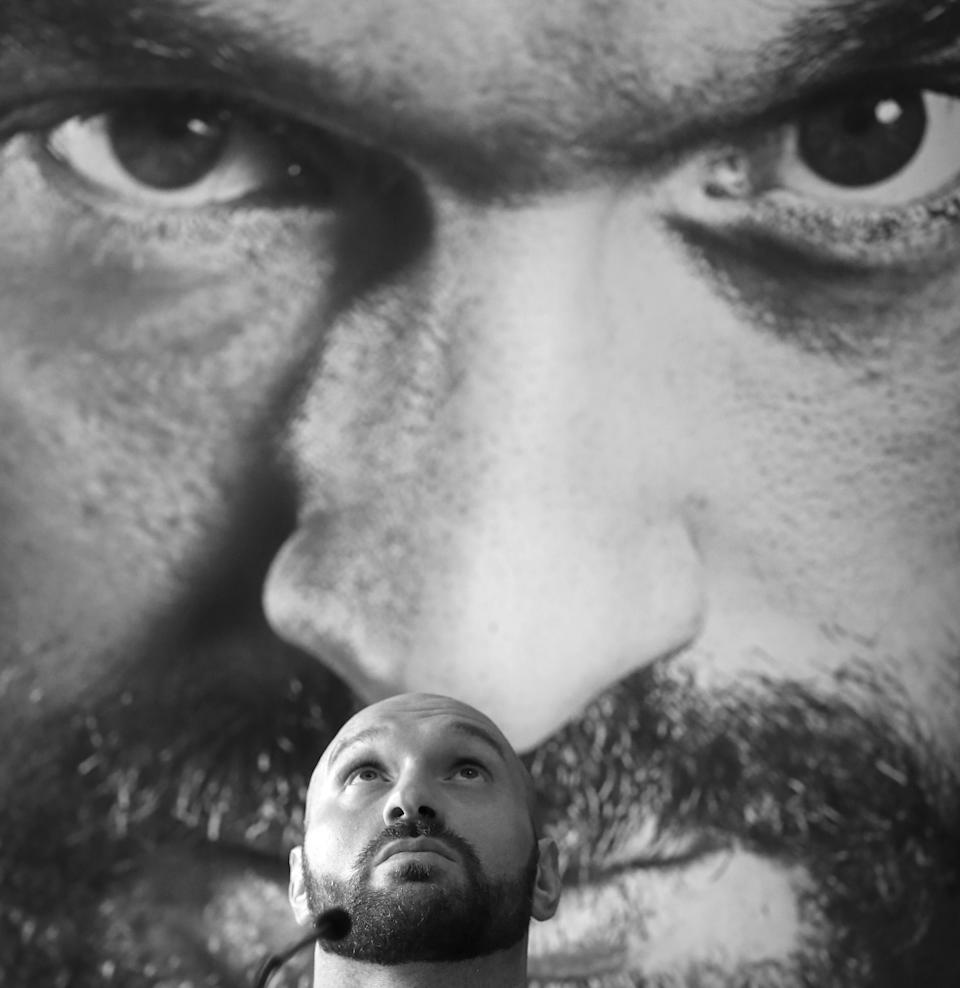 *IMAGE CONVERTED TO BLACK AND WHITE* Tyson Fury during the press conference at the Lowry Hotel, Manchester. (Photo by Nigel French/PA Images via Getty Images)